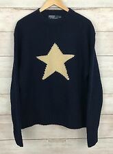 RARE Vintage Polo Ralph Lauren Star Sweater HAND KNIT Wool 90s Navy & Ivory XXL