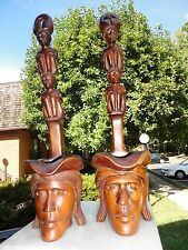 Hand Carved Wood Head Hunter  Totem Pole Statue Man & Woman Art Dipper shaped