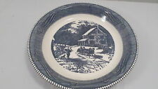 """Vintage Royal China Jeannette Horse Carriage Scene Blue & White Bowl 10"""""""