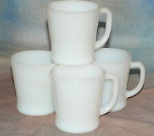 Vintage Fire King White Coffee Cups Restaurant D Handle Mugs