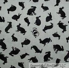 BonEful Fabric Cotton Quilt VTG Gray Black Calico Hair Bunny Rabbit Easter SCRAP