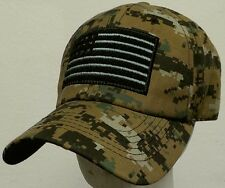 WOODLAND CAMO TACTICAL MILITARY FORCES OPERATOR AMERICA PATCH USA FLAG CAP HAT