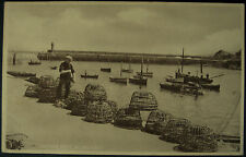 1959 Mevagissey Harbour Quayside Lobster Pots & Fisherman RP Postcard Cornwall