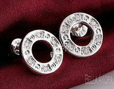 Pretty 925 Sterling Silver Open Circle Round Clear Zirconia Stud Earrings -113