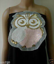 SY163 Cute Owl Embroidered Sequined Applique Fashion Motif