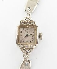 c1960s 14K GOLD & 6 DIAMOND BULOVA 23 5AD 23J HIGH GRADE LADIES WATCH. A FIXER !