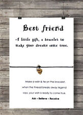 Friendship Card Wish String Heart Charm Bracelet 'Best Friend Gift Tag #14AA