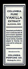 Vintage 1940's Columbia Pure Vanilla Extract Label Alcohol 50% Pittsburgh PA