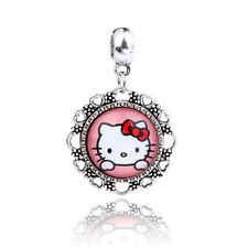 Retro Silver Cute Cat Cabochon Glass Dangle Charm Bead Fit Bracelet D175