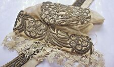 Early 19c SLOVAK, TRNAVA Gold Thread Embroidery on Tulle Cap & Linear Trim/Linen