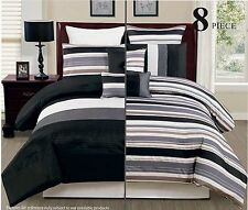 8PC Reversible Luxury Comforter Bed in Bag Bedding Set, King, Black/Grey/White