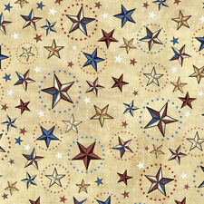 Home of the Brave Star Patriotic Fabric Red White Blue Cream Military Stars