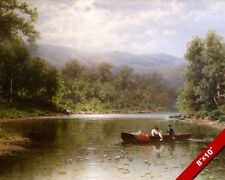 COUPLE IN BOAT ON PEACEFUL LAKE POND LANDSCAPE PAINTING ART REAL CANVAS PRINT