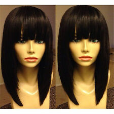 "Hot 14"" Silk Straight  Black Lace Front Remy Brazilian virgin Human Hair Bob Wig"