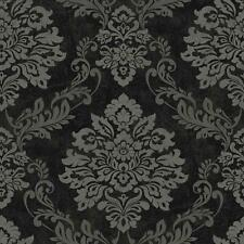 ARTHOUSE PALAZZO DAMASK PATTERN TEXTURED VINYL GLITTER MOTIF WALLPAPER BLACK