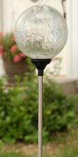 "Solar 3.5"" Clear Ball,7 color changing Crackle Glass Globe garden Lawn LED Light"