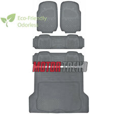 Gray Rubber Floor Mats 5 Piece Set w/ Cargo Liner HD MOTORTREND Odor Free