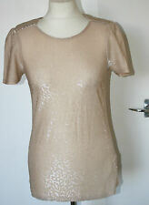 Oasis XS UK6-8 EU34-36 new gold sparkly stretch short sleeve plain back top