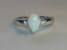 Ladies Sterling 925 Solid Silver Natural Australian Opal & White Sapphire Ring
