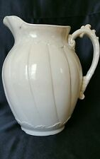"""EMBOSSED WHITE IRONSTONE PITCHER - 11"""" Tall"""