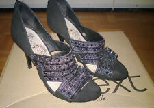 **LADIES NEXT URBAN VINTAGE SHOES BLACK WORN ONCE SIZE 6**