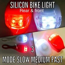 2 LED  SILICONE BODY  MOUNTAIN BIKE BICYCLE FRONT REAR LIGHTS SET PUSH Uk Seller