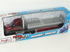 MAISTO SPEED FRESH METAL HIGHWAY HAULERS RACE CAR TRANSPORTER 1:64 BLACK ON FIRE