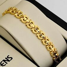"New Charms 18K Yellow Gold Filled Womens Bracelet 7.3"" Link 8mm Fashion Chain"