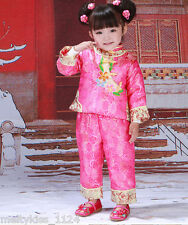 Chinese national costume fancy comphy flower outfit  for 2T-3T girls(#130)