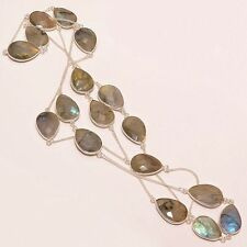 EXCLUSIVE GENUINE LABRADORITE GEMSTONE .925 SILVER BEZEL JEWELRY NECKLACE 18""