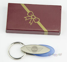 Personalised  MINI cooper Design keyring BOXED engraved Free Metal Key ring BLUE