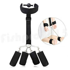 Slave Bondage Collar Wrist Ankle Cuffs Mouth Gag Set Restraint Straps SM Sex Toy