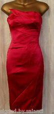 Karen Millen Signature Stretch Satin Fold Strapless Pencil Fuchsia Dress 8 36