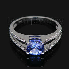Jewelry Sets Cushion 6x6mm 14Kt White Gold Natural Diamond Tanzanite Ring SR336A