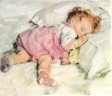 Baby asleep in bed*bottle*Fabric quilt block.1-5x7*Maud Tussy Fangel*Love this.