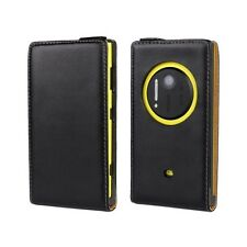Genuine Real Leather Flip Case Cover Wallet Nokia Lumia 1020-Black