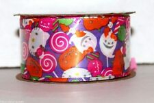 "Hello Kitty Print Halloween Purple Candy Ribbon 1.5""x9' 100% Polyester Party"