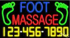 """NEW """"FOOT MASSAGE"""" w/YOUR PHONE NUMBER 37x20 NEON SIGN W/CUSTOM OPTIONS 15067"""