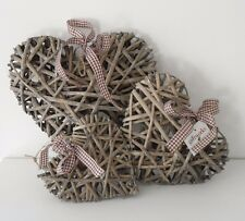 3 Rustic Shabby Chic Ribbon Hanging Natural Grey Wicker Heart Wedding Decoration