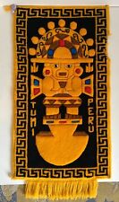 PERU TUMI Carpet Wall Rug Yellow Warrior Vintage Collectible Home Decor Gift