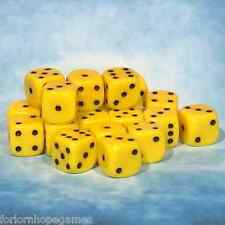 50 x 10mm Opaque D6 Spot Dice Six Sided plastic - Yellow