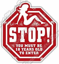 Sex Girl Adult Stop Sign Grunge Stamp Car Bumper Vinyl Sticker Decal 4.6""
