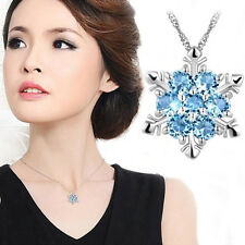 Silver Crystal Blue Sapphire Snowflake Charm Women Necklace Pendant Twinkle Gift