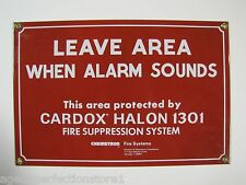 Orig Porcelain Fire Safety Sign Leave Area When Alarm Sounds - Cardox Halon 1301