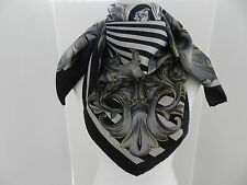 """Versace Foulard 100% Silk Scarf 34"""" Baroque Medusa Black Grey Gold NWT Italy"""