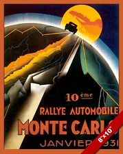 VINTAGE MONTE CARLO CAR RALLY AUTO RACE TRAVEL AD POSTER ART REAL CANVAS PRINT