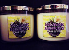 Bath Body Works Slatkin BLACKBERRY GRAPEFRUIT  3-wick Candles NEW x 2
