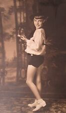 ANTIQUE VINTAGE YOUNG GIRL TAP DANCER CANE TOP HAT ARTISTIC DANCING RPPC PHOTO