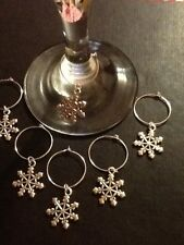 Snow flake wine glass charms set of 6 silver plated