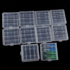 10Pcs Clear Box Hard Plastic Case Holder Safe Storage Cover For AA / AAA Battery